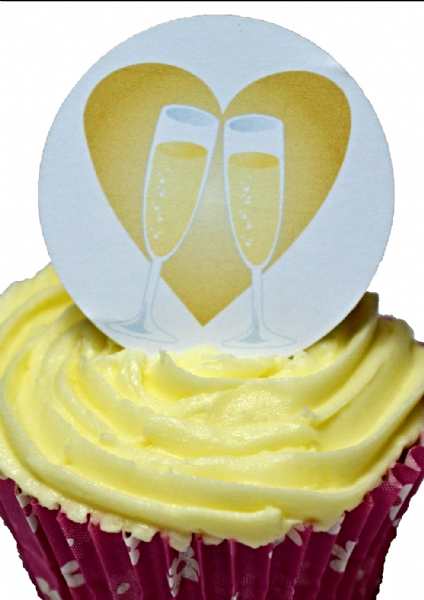 Edible cake toppers decoration - Celebrate with champagne